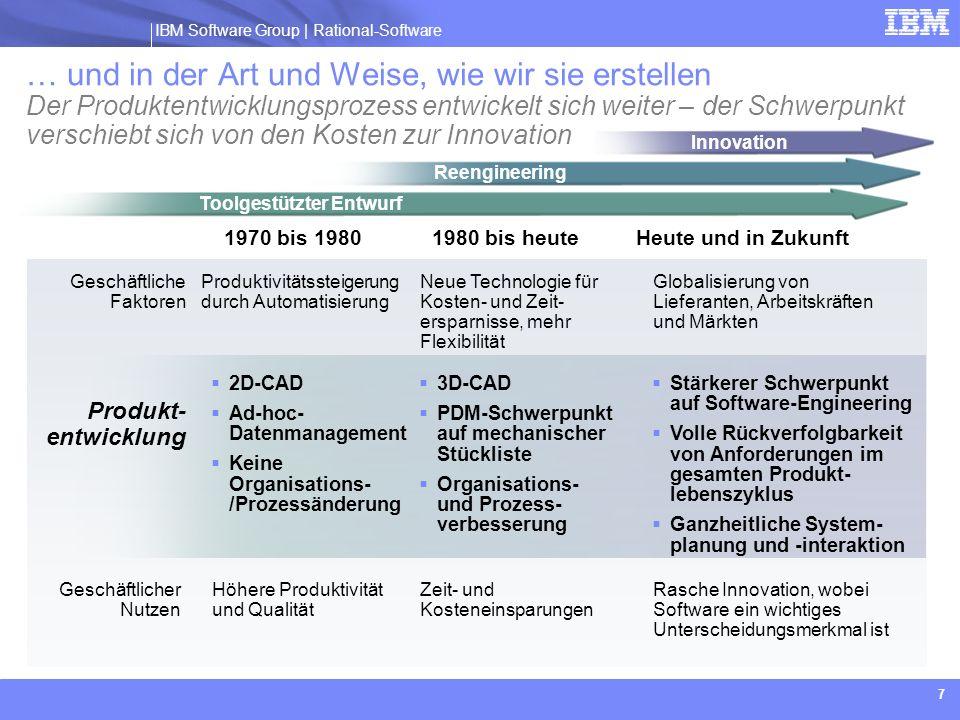 IBM Software Group | Rational software 8 Für einen smarteren Planeten sind erhebliche Investitionen in Software und Systeme nötig Unternehmen und Institutionen weltweit hatten noch nie so viele neue Möglichkeiten wie heute.