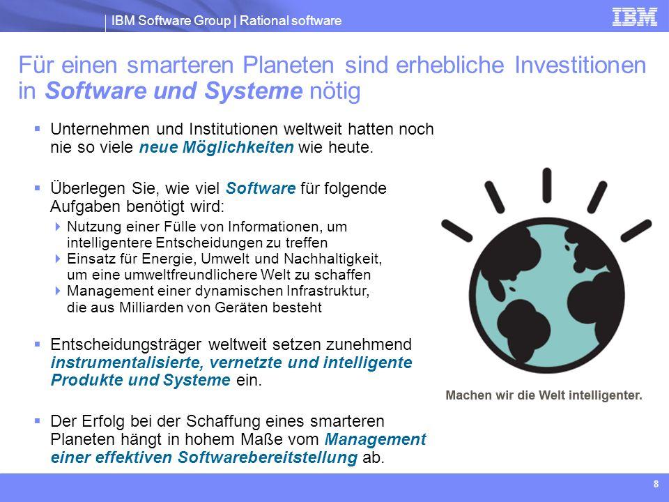IBM Software Group | Rational software IBM Software Group | Rational-Software 49 Vier Erfolgsmuster, um Agilität im richtigen Maß zu erreichen 1.Umfangsmanagement Assetbasierte Entwicklung Lösungen entstehen aus Anforderungen, und Anforderungen entstehen aus verfügbaren Assets Statt einer Methode, bei der alle Anforderungen im Voraus erfasst werden 2.Prozessmanagement Bestimmung des richtigen ProzessumfangsProzess und Instrumentierung entwickeln sich von einfach zu komplex Statt einer Methode, bei der der Prozess während des gesamten Lebenszyklus des Projekts einfach oder komplex sein sollte, abhängig von der Art des Projekts 3.Fortschrittsmanagement Ehrliche Einschätzungen Erfolgreiche Projekte weisen eine Sequenz von Progressionen und Digressionen auf Statt einer Methode, bei der der angestrebte Nutzen zu 100 % mit einem monoton zunehmenden Fortschritt auf der Basis eines statischen Plans erreicht werden soll 4.Qualitätsmanagement Zunehmend bessere, nachweisbare Ergebnisse Test muss eine erstklassige, den gesamten Lebenszyklus umfassende Aktivität sein Statt einer untergeordneten Aktivität, die in einer späteren Phase im Lebenszyklus durchgeführt wird