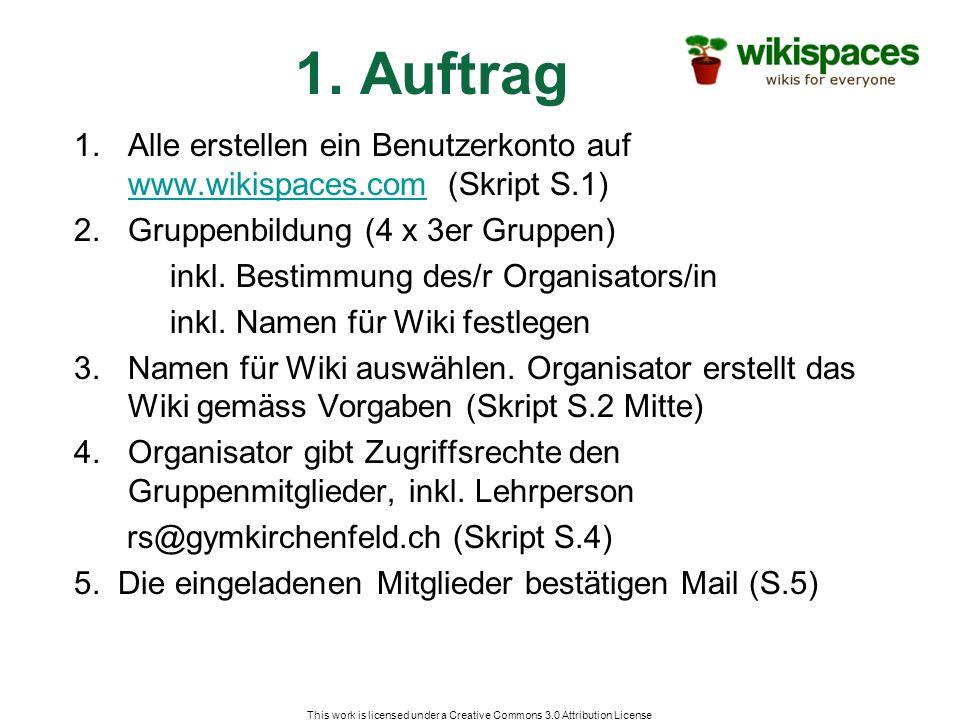 1. Auftrag 1.Alle erstellen ein Benutzerkonto auf www.wikispaces.com (Skript S.1) www.wikispaces.com 2.Gruppenbildung (4 x 3er Gruppen) inkl. Bestimmu