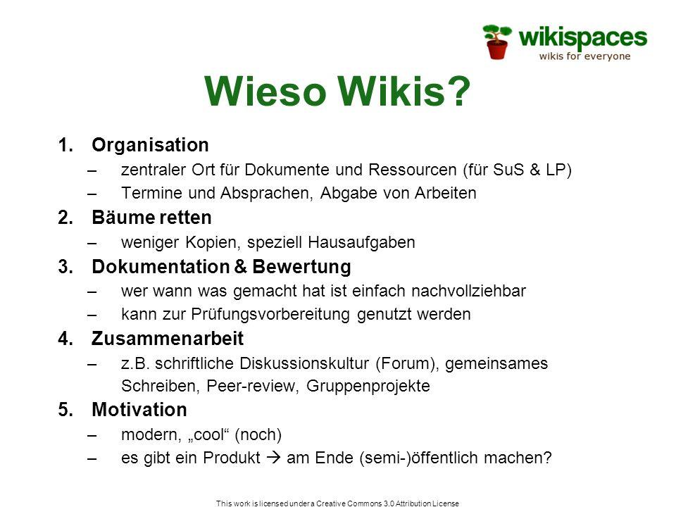 Wieso Wikis? 1.Organisation –zentraler Ort für Dokumente und Ressourcen (für SuS & LP) –Termine und Absprachen, Abgabe von Arbeiten 2.Bäume retten –we