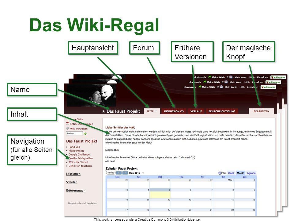 This work is licensed under a Creative Commons 3.0 Attribution License Das Wiki-Regal Name Inhalt Navigation (für alle Seiten gleich) Navigation (für