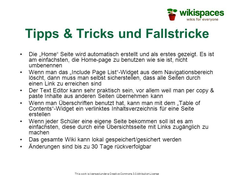 Tipps & Tricks und Fallstricke Die Home Seite wird automatisch erstellt und als erstes gezeigt. Es ist am einfachsten, die Home-page zu benutzen wie s