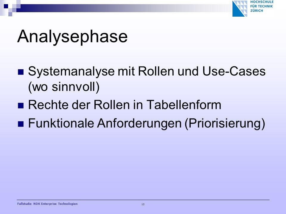 10 Fallstudie NDK Enterprise Technologien Analysephase Systemanalyse mit Rollen und Use-Cases (wo sinnvoll) Rechte der Rollen in Tabellenform Funktionale Anforderungen (Priorisierung)