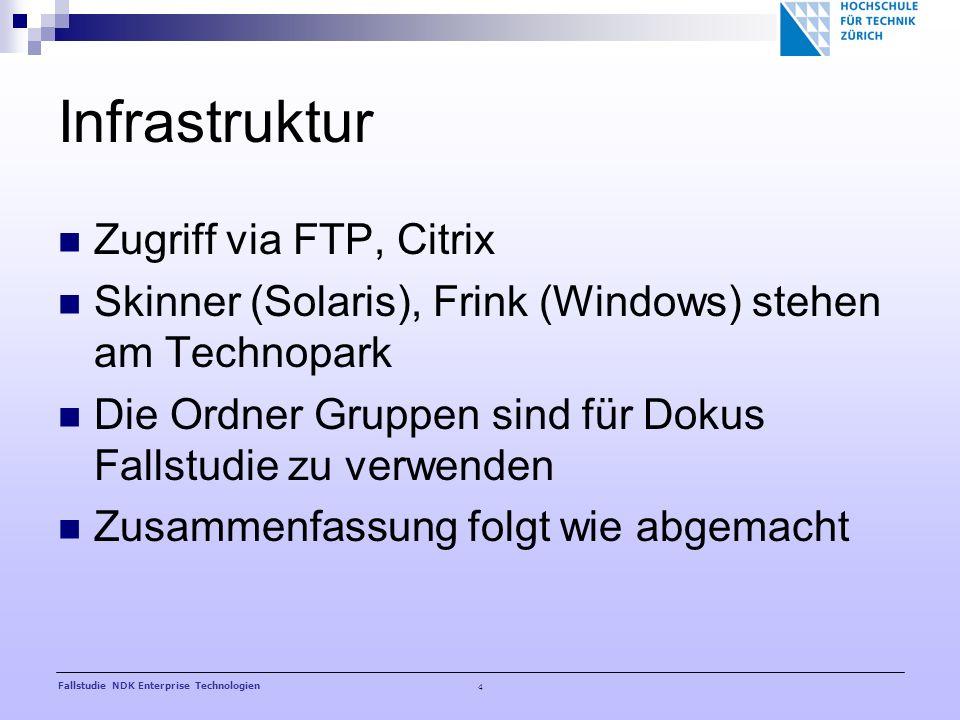 4 Fallstudie NDK Enterprise Technologien Infrastruktur Zugriff via FTP, Citrix Skinner (Solaris), Frink (Windows) stehen am Technopark Die Ordner Gruppen sind für Dokus Fallstudie zu verwenden Zusammenfassung folgt wie abgemacht