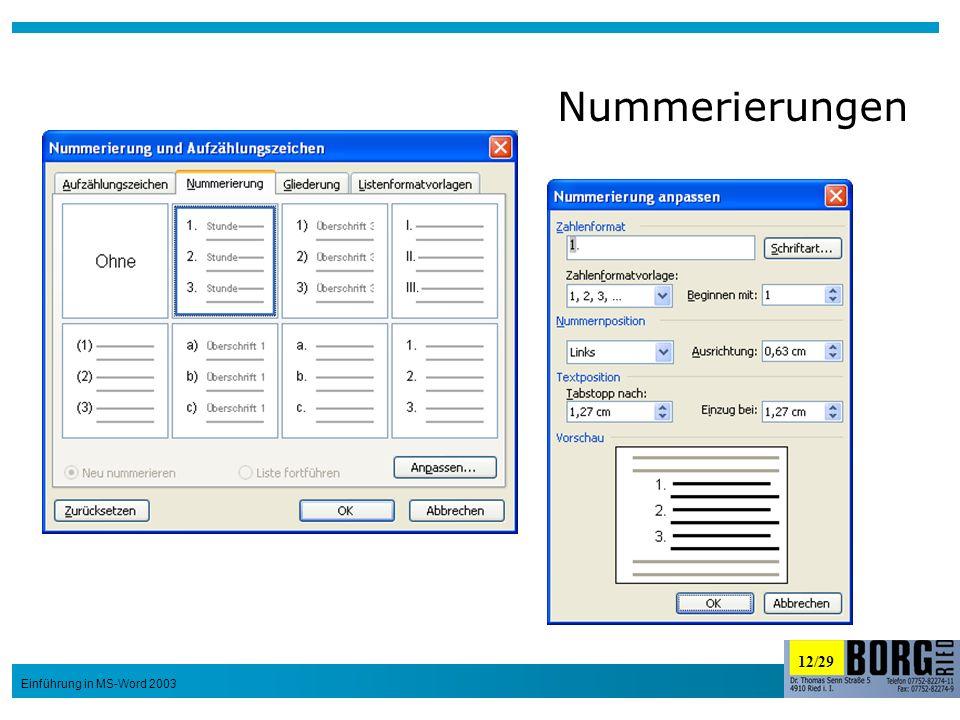 12/29 Einführung in MS-Word 2003 Nummerierungen