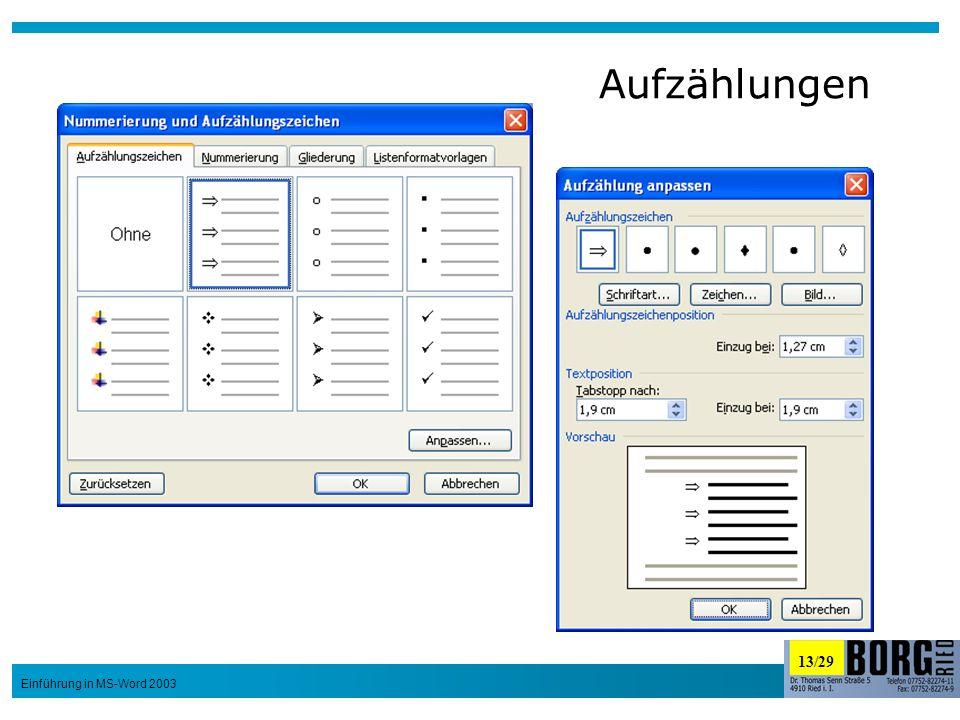 13/29 Einführung in MS-Word 2003 Aufzählungen