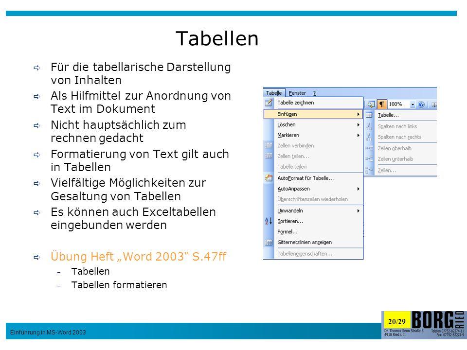 20/29 Einführung in MS-Word 2003 Tabellen Für die tabellarische Darstellung von Inhalten Als Hilfmittel zur Anordnung von Text im Dokument Nicht haupt
