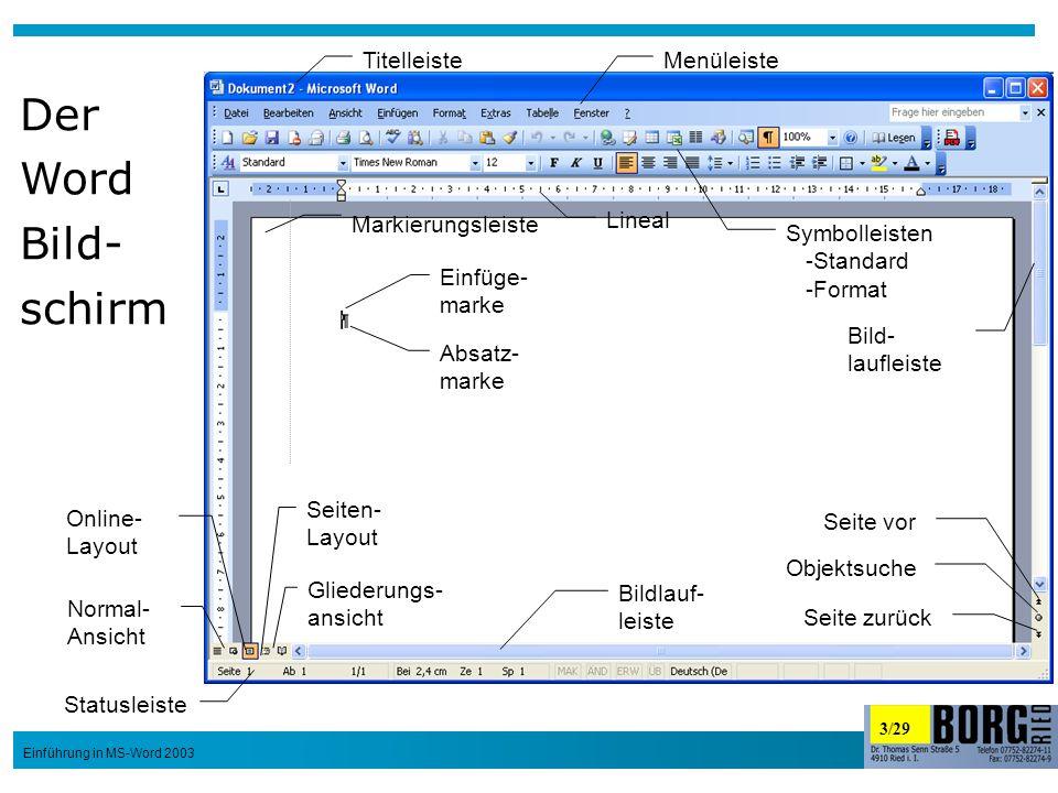 3/29 Einführung in MS-Word 2003 Lineal Bild- laufleiste Bildlauf- leiste Absatz- marke Normal- Ansicht Online- Layout Seiten- Layout Gliederungs- ansi