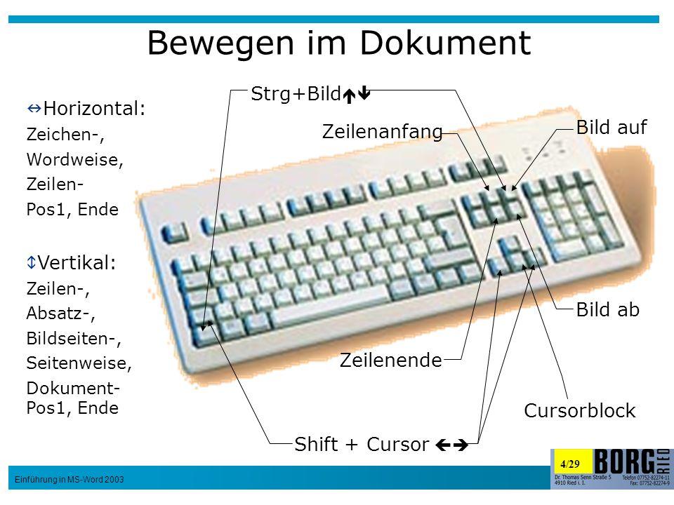 4/29 Einführung in MS-Word 2003 Bewegen im Dokument Bild auf Bild ab Zeilenanfang Zeilenende Cursorblock Shift + Cursor Strg+Bild Horizontal: Zeichen-