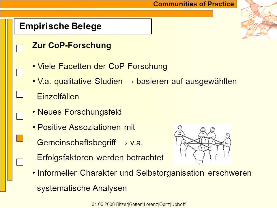 Communities of Practice Empirische Belege 04.06.2008 Bitzer Göttert Lorenz Opitz Uphoff Zur CoP-Forschung Viele Facetten der CoP-Forschung V.a.