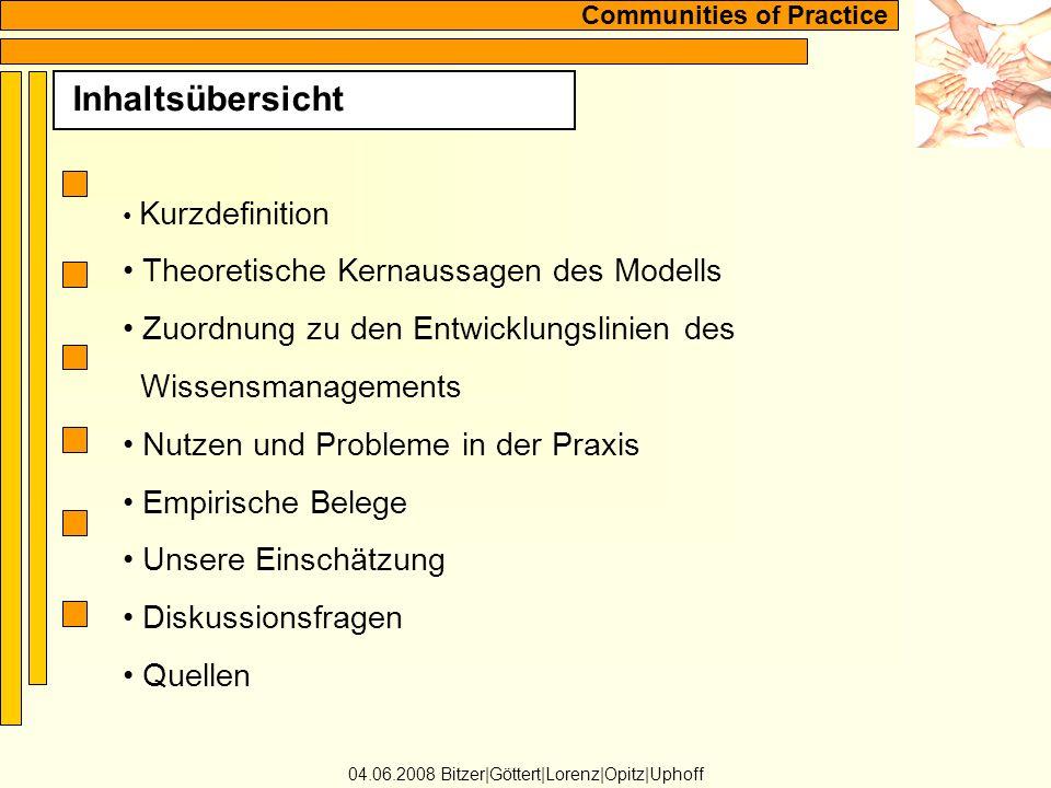 Communities of Practice Kurzdefinition 04.06.2008 Bitzer|Göttert|Lorenz|Opitz|Uphoff Communities of Practice sind...