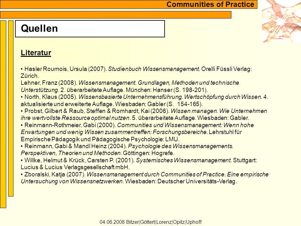Communities of Practice Quellen 04.06.2008 Bitzer Göttert Lorenz Opitz Uphoff Literatur Hasler Roumois, Ursula (2007).