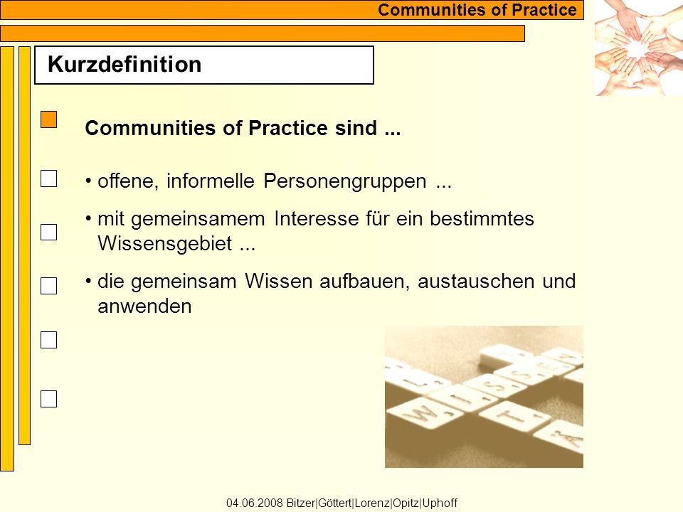 Communities of Practice Kurzdefinition 04.06.2008 Bitzer Göttert Lorenz Opitz Uphoff Communities of Practice sind...