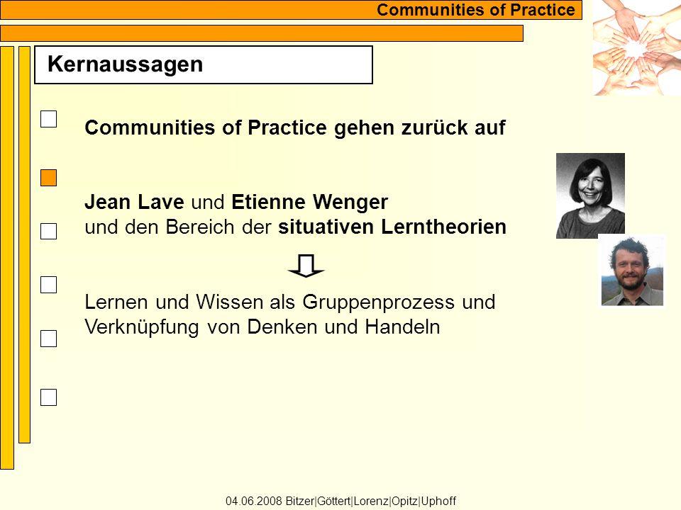 Communities of Practice Kernaussagen 04.06.2008 Bitzer Göttert Lorenz Opitz Uphoff Communities of Practice gehen zurück auf Jean Lave und Etienne Wenger und den Bereich der situativen Lerntheorien Lernen und Wissen als Gruppenprozess und Verknüpfung von Denken und Handeln