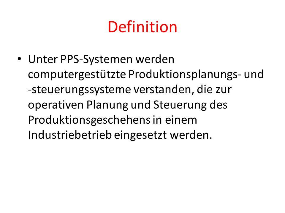 Definition Unter PPS-Systemen werden computergestützte Produktionsplanungs- und -steuerungssysteme verstanden, die zur operativen Planung und Steuerun
