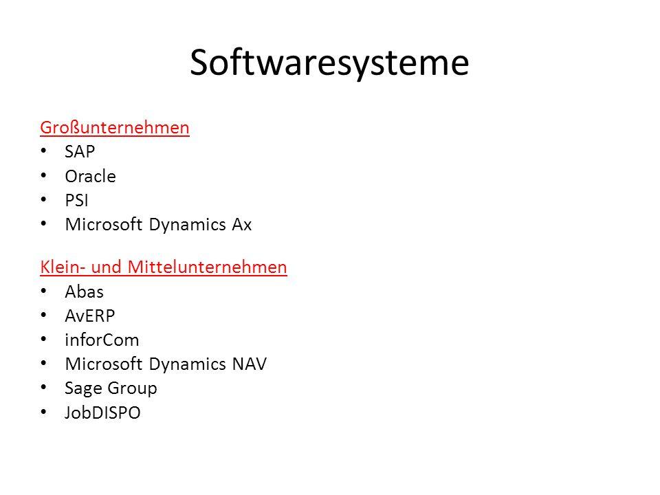 Softwaresysteme Großunternehmen SAP Oracle PSI Microsoft Dynamics Ax Klein- und Mittelunternehmen Abas AvERP inforCom Microsoft Dynamics NAV Sage Grou