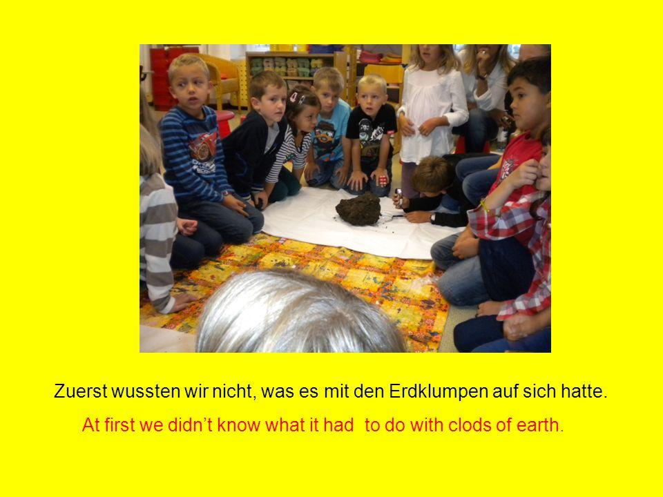 Wir untersuchten die Erde nach Regenwürmern! We examined the soil to find earthworms!