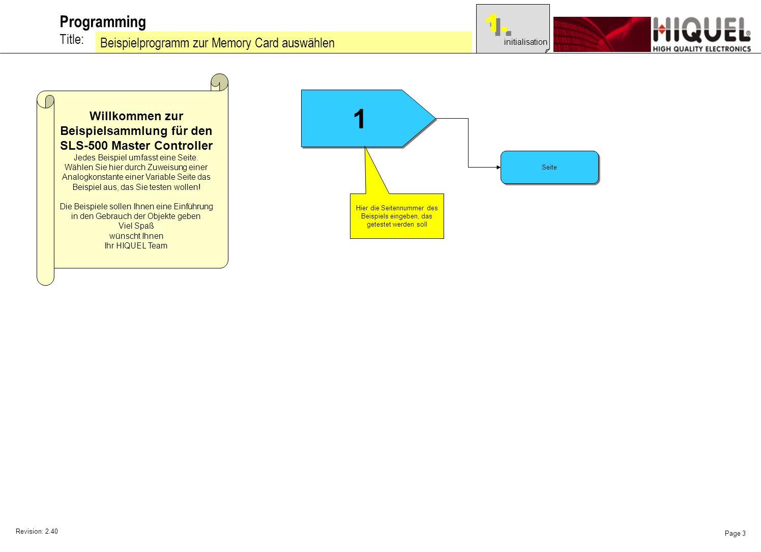 Revision: 2.40 Page 3 Title: Programming Beispielprogramm zur Memory Card auswählen Willkommen zur Beispielsammlung für den SLS-500 Master Controller Jedes Beispiel umfasst eine Seite.