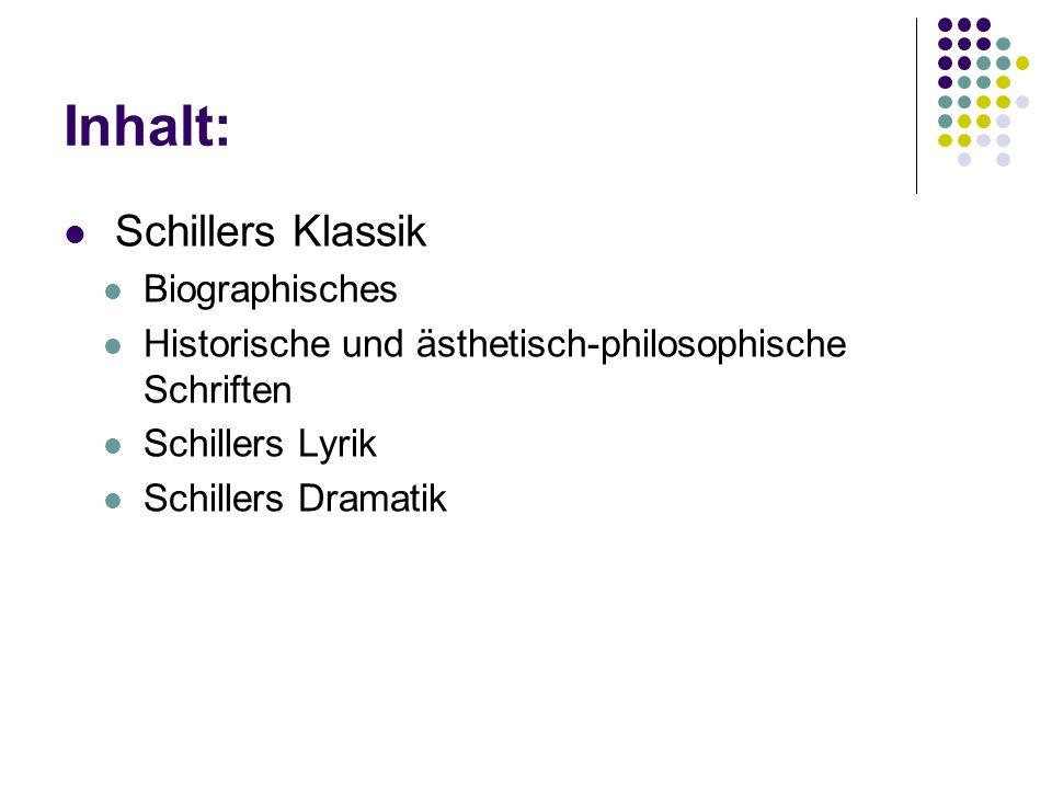 Inhalt: Schillers Klassik Biographisches Historische und ästhetisch-philosophische Schriften Schillers Lyrik Schillers Dramatik