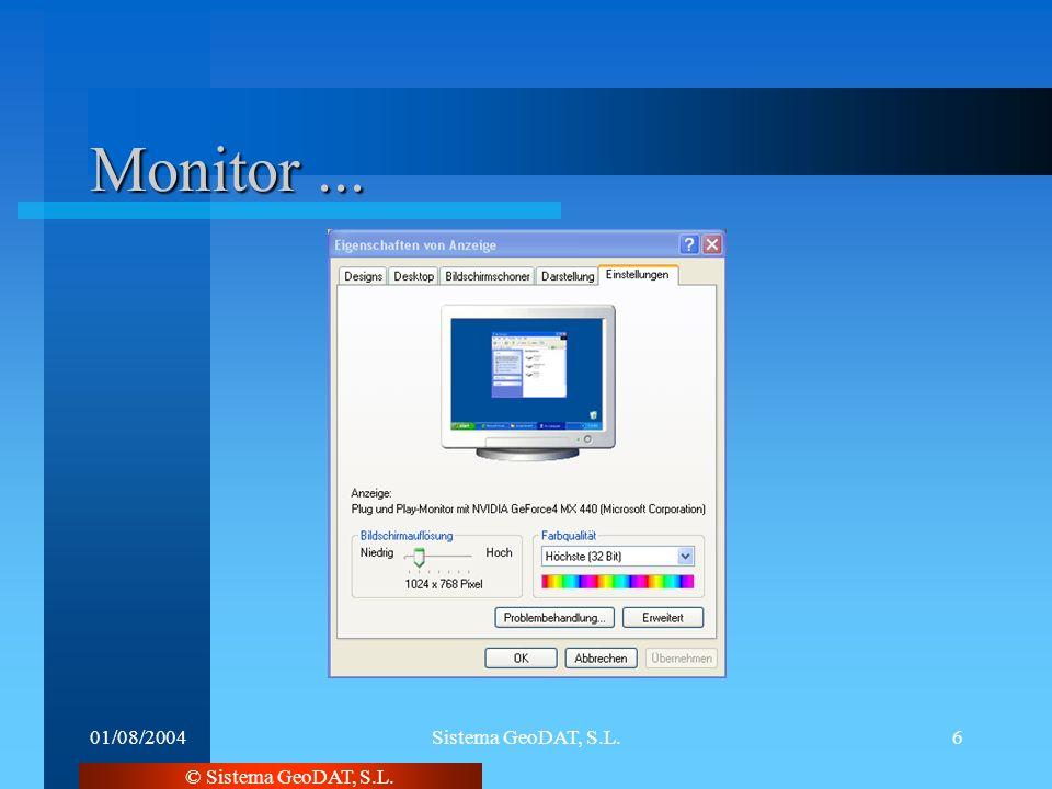 © Sistema GeoDAT, S.L. 01/08/2004Sistema GeoDAT, S.L.6 Monitor...