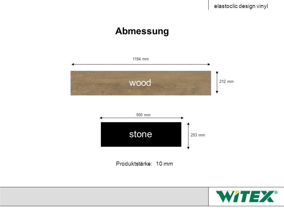 Abmessung 212 mm 1194 mm 293 mm 900 mm elastoclic design vinyl Produktstärke: 10 mm wood stone