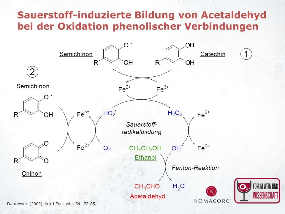 Sauerstoff-induzierte Bildung von Acetaldehyd bei der Oxidation phenolischer Verbindungen Semichinon Fe 2+ Fe 3+ O 2 HO 2 Fe 2+ Fe 3+ H 2 O 2 OH Fe 3+