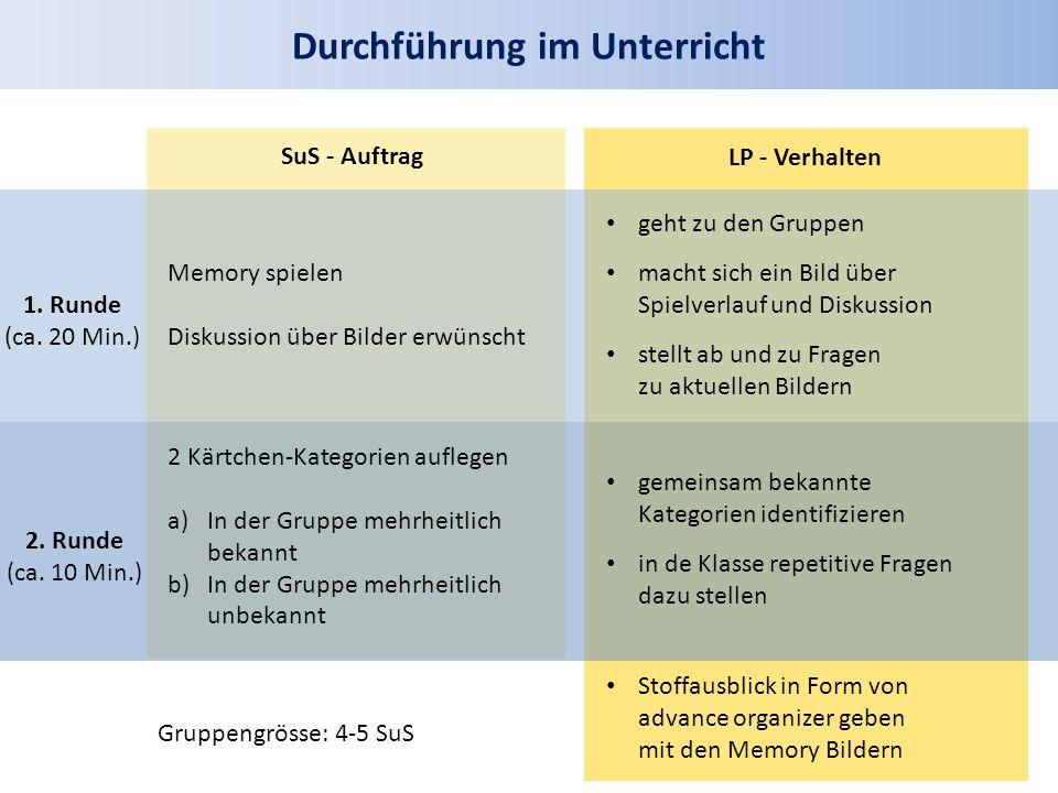 Durchführung im Unterricht SuS - Auftrag LP - Verhalten 1. Runde (ca. 20 Min.) 2. Runde (ca. 10 Min.) Memory spielen Diskussion über Bilder erwünscht