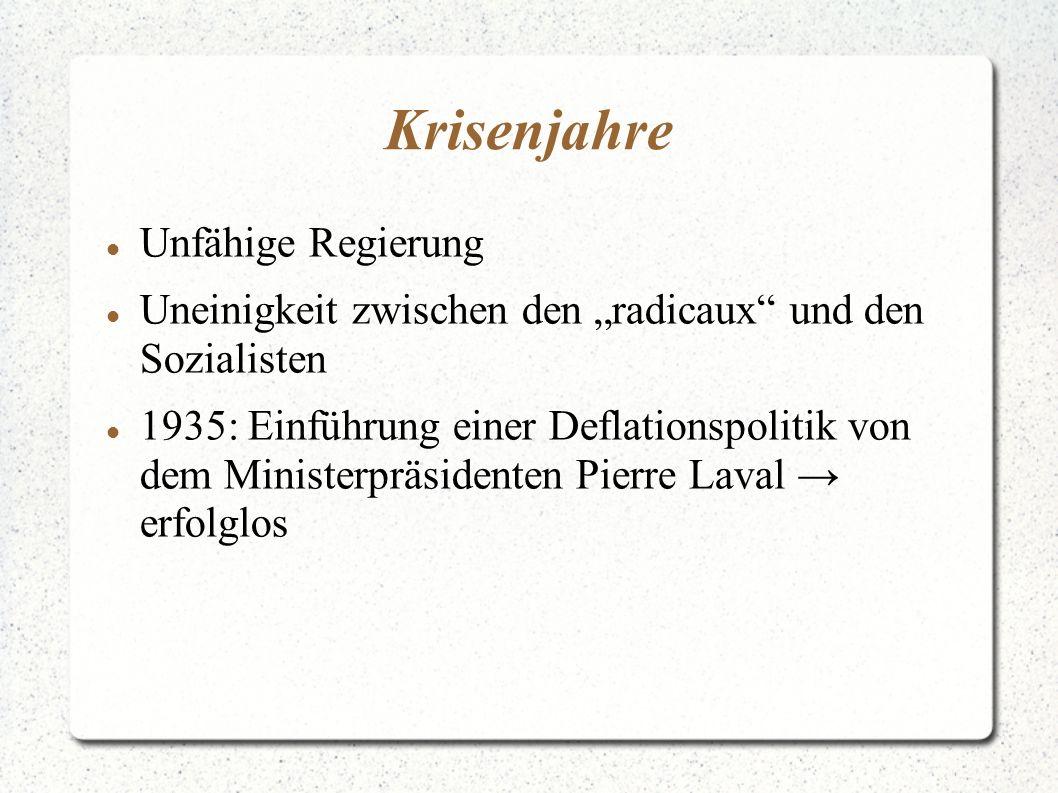 Krisenjahre Unfähige Regierung Uneinigkeit zwischen den radicaux und den Sozialisten 1935: Einführung einer Deflationspolitik von dem Ministerpräsidenten Pierre Laval erfolglos