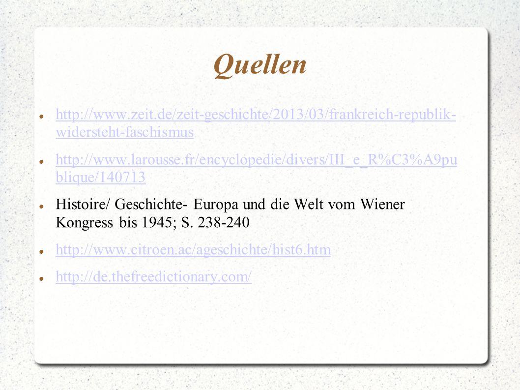 Quellen http://www.zeit.de/zeit-geschichte/2013/03/frankreich-republik- widersteht-faschismus http://www.zeit.de/zeit-geschichte/2013/03/frankreich-republik- widersteht-faschismus http://www.larousse.fr/encyclopedie/divers/III_e_R%C3%A9pu blique/140713 http://www.larousse.fr/encyclopedie/divers/III_e_R%C3%A9pu blique/140713 Histoire/ Geschichte- Europa und die Welt vom Wiener Kongress bis 1945; S.