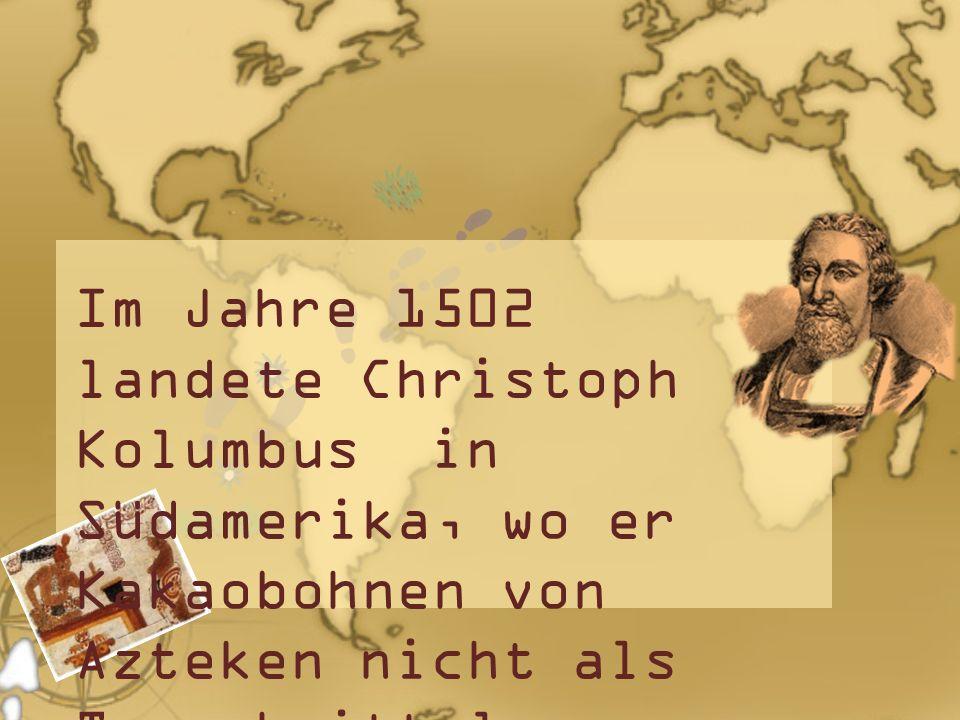 Im Jahre 1502 landete Christoph Kolumbus in Südamerika, wo er Kakaobohnen von Azteken nicht als Tauschmittel annehmen wollte