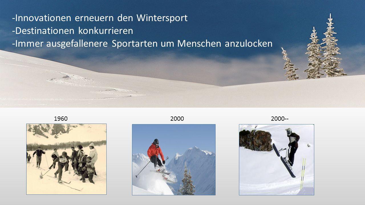 196020002000-- -Innovationen erneuern den Wintersport -Destinationen konkurrieren -Immer ausgefallenere Sportarten um Menschen anzulocken