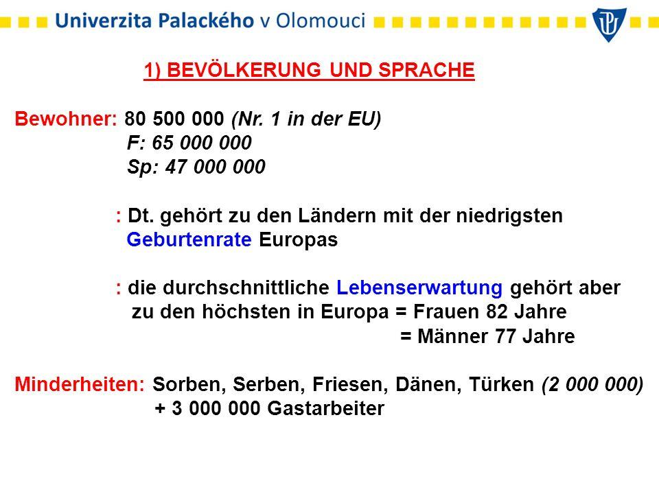 1) BEVÖLKERUNG UND SPRACHE Bewohner: 80 500 000 (Nr. 1 in der EU) F: 65 000 000 Sp: 47 000 000 : Dt. gehört zu den Ländern mit der niedrigsten Geburte