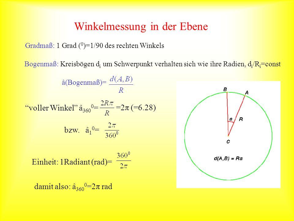 Gradmaß: 1 Grad ( 0 )=1/90 des rechten Winkels Bogenmaß: Kreisbögen d i um Schwerpunkt verhalten sich wie ihre Radien, d i /R i =const â(Bogenmaß)= vo