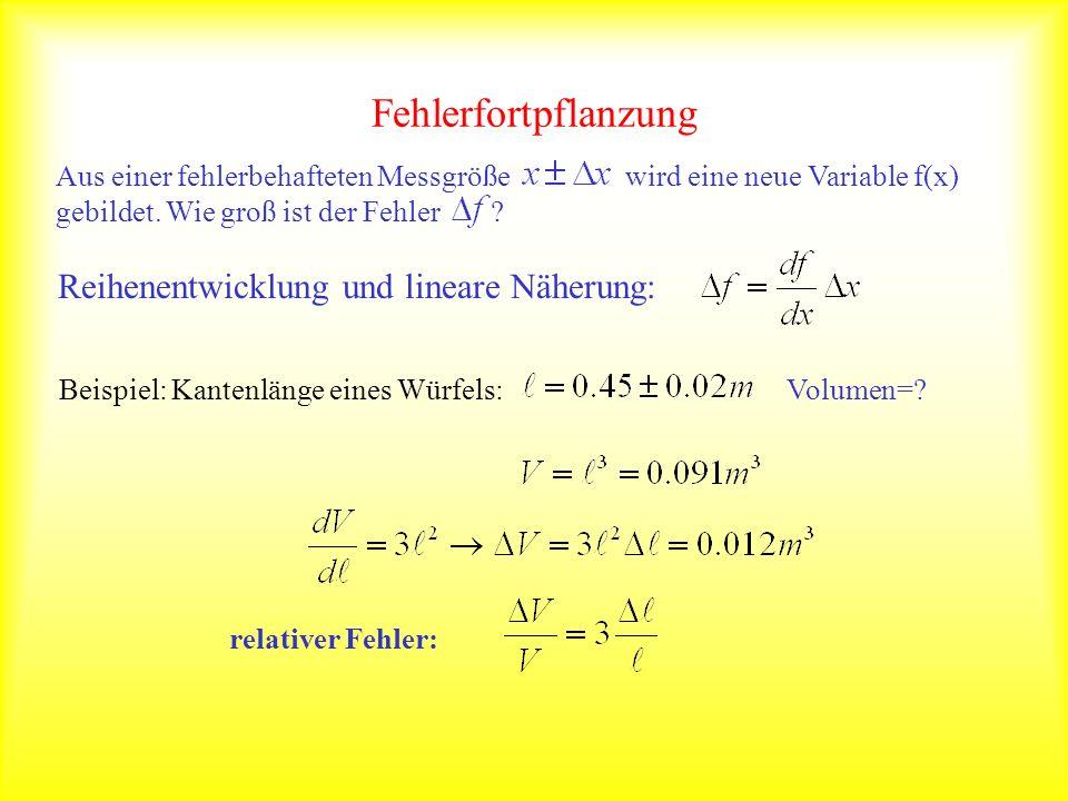 Fehlerfortpflanzung Reihenentwicklung und lineare Näherung: Beispiel: Kantenlänge eines Würfels:Volumen=? relativer Fehler: Aus einer fehlerbehafteten