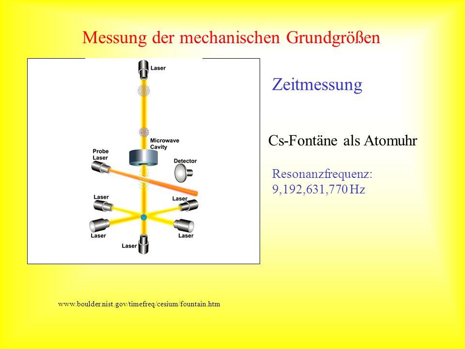 Messung der mechanischen Grundgrößen Cs-Fontäne als Atomuhr Resonanzfrequenz: 9,192,631,770 Hz www.boulder.nist.gov/timefreq/cesium/fountain.htm Zeitm