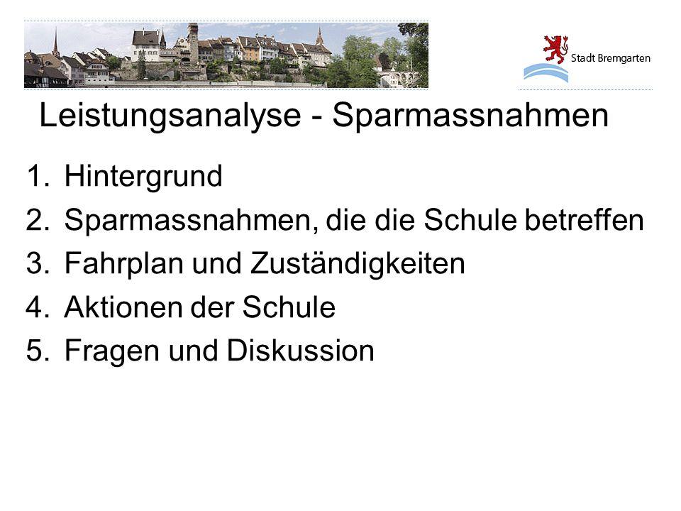 Leistungsanalyse - Sparmassnahmen MassnahmeInhalt 16.