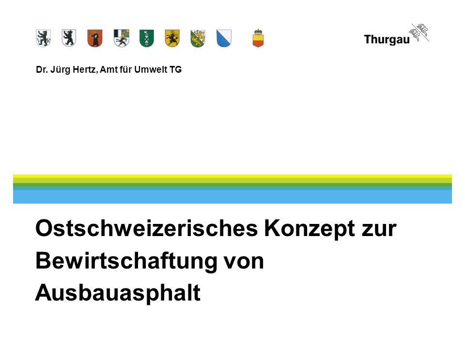 Dr. Jürg Hertz, Amt für Umwelt TG Ostschweizerisches Konzept zur Bewirtschaftung von Ausbauasphalt