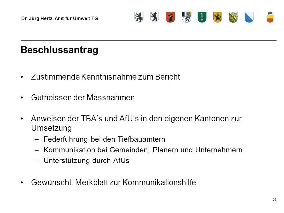 Dr. Jürg Hertz, Amt für Umwelt TG 26 Beschlussantrag Zustimmende Kenntnisnahme zum Bericht Gutheissen der Massnahmen Anweisen der TBAs und AfUs in den