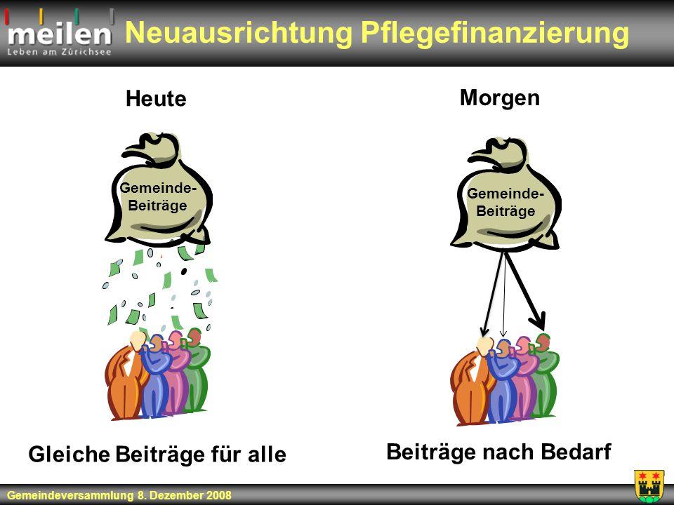 Neuausrichtung Pflegefinanzierung Heute Gemeinde- Beiträge Gleiche Beiträge für alle Beiträge nach Bedarf Morgen Gemeinde- Beiträge Gemeindeversammlun
