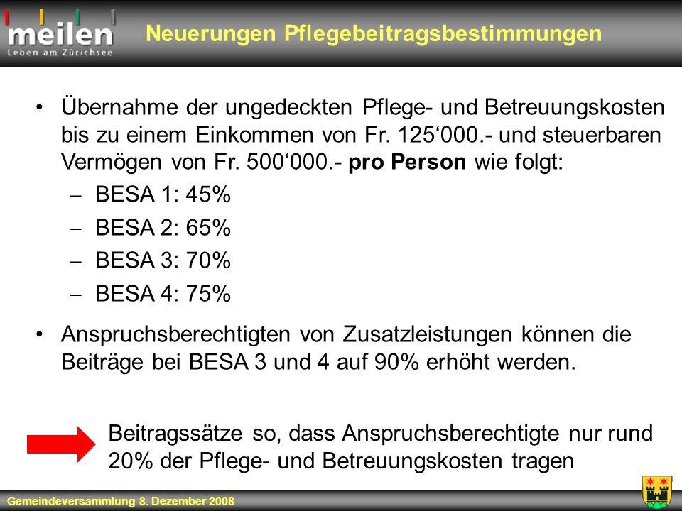 Neuerungen Pflegebeitragsbestimmungen Übernahme der ungedeckten Pflege- und Betreuungskosten bis zu einem Einkommen von Fr. 125000.- und steuerbaren V