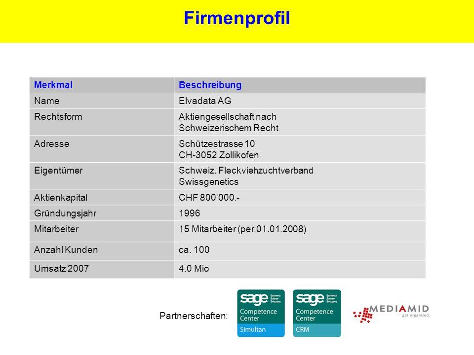 12 Firmenprofil Partnerschaften: MerkmalBeschreibung NameElvadata AG RechtsformAktiengesellschaft nach Schweizerischem Recht AdresseSchützestrasse 10