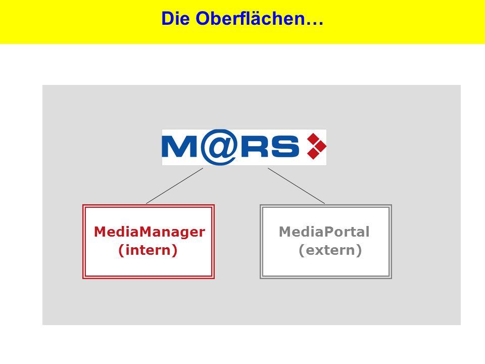16 Die Oberflächen… MediaPortal (extern) MediaManager (intern)