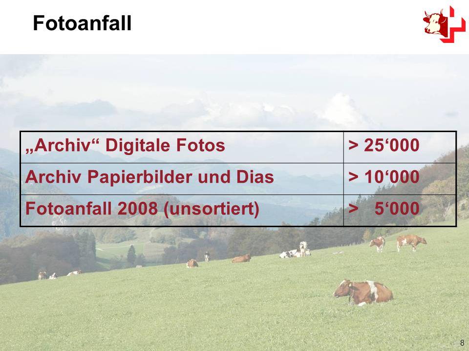 9 Aufbau eines digitalen Fotoarchivs Verknüpfungen Speicherplatz reduzieren Suchmöglichkeiten / Verschlagwortung Bildaustausch mit Druckerei, Presse, Züchter, intern etc.