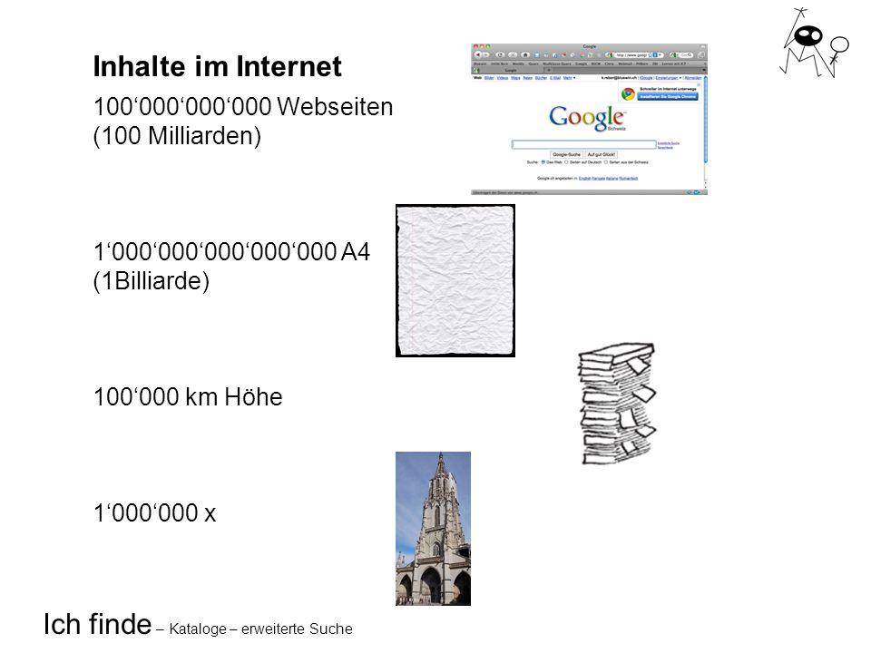 Ich finde – Kataloge – erweiterte Suche Inhalte im Internet 100000000000 Webseiten (100 Milliarden) 1000000000000000 A4 (1Billiarde) 100000 km Höhe 1000000 x
