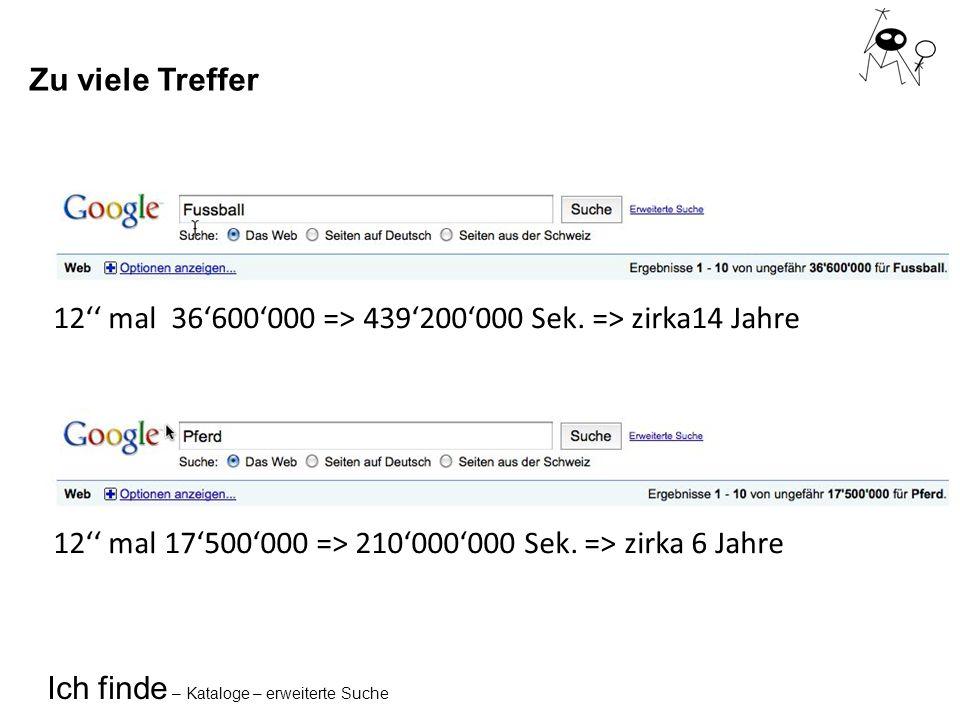 Ich finde – Kataloge – erweiterte Suche Lösungen Google... und was noch?