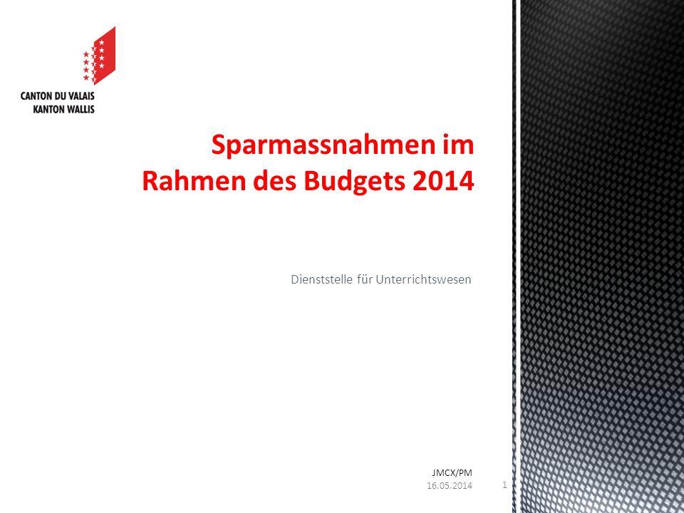 Dienststelle für Unterrichtswesen Sparmassnahmen im Rahmen des Budgets 2014 16.05.2014 JMCX/PM 1