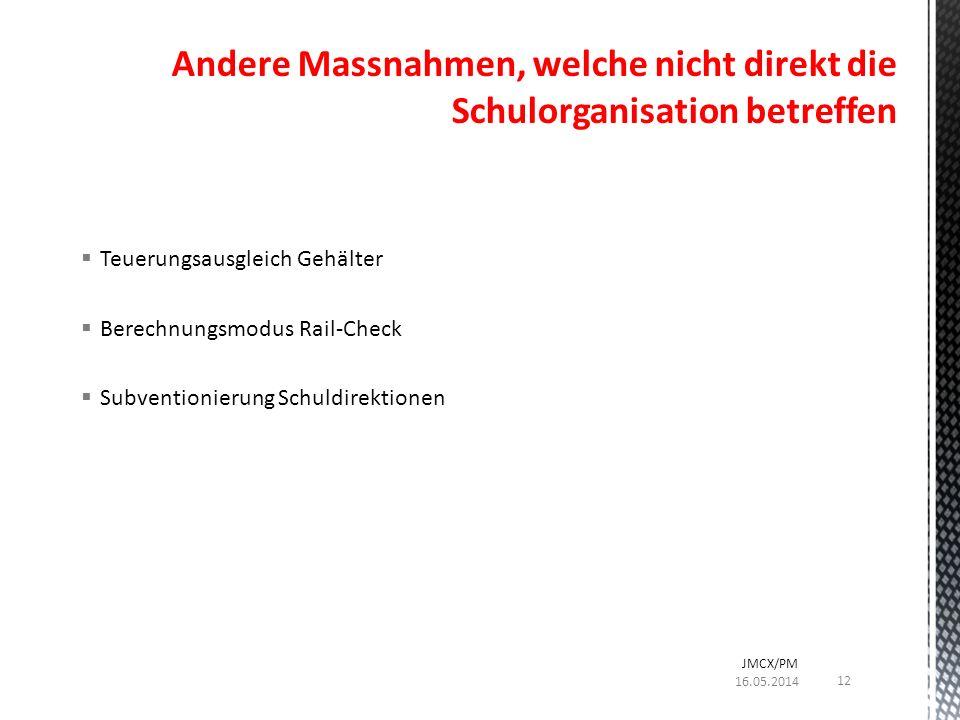 Teuerungsausgleich Gehälter Berechnungsmodus Rail-Check Subventionierung Schuldirektionen Andere Massnahmen, welche nicht direkt die Schulorganisation betreffen 16.05.2014 JMCX/PM 12