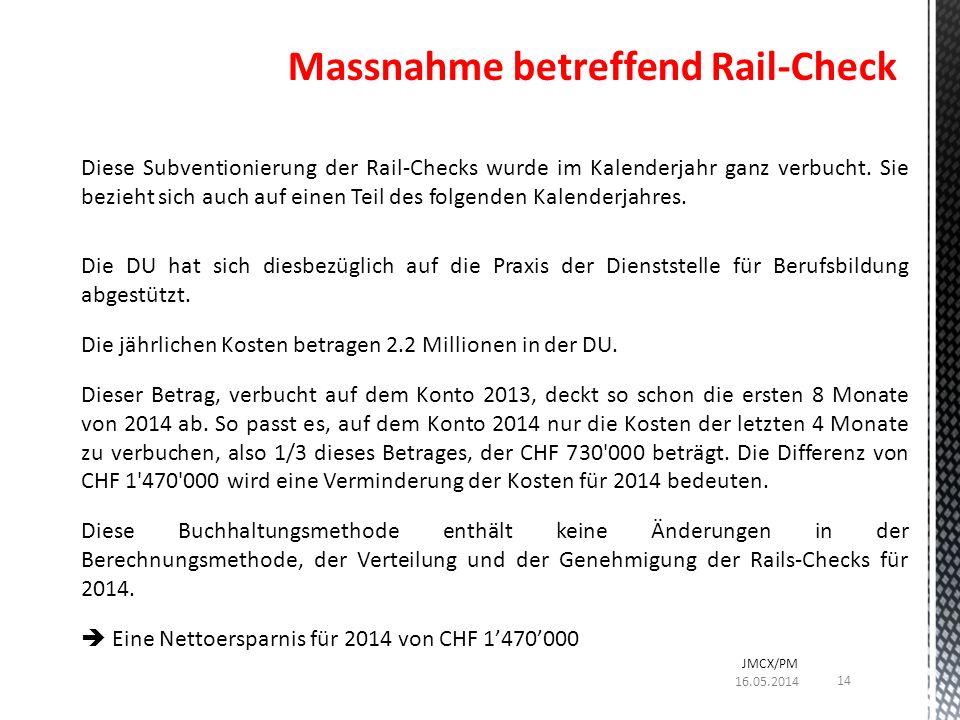 Diese Subventionierung der Rail-Checks wurde im Kalenderjahr ganz verbucht.