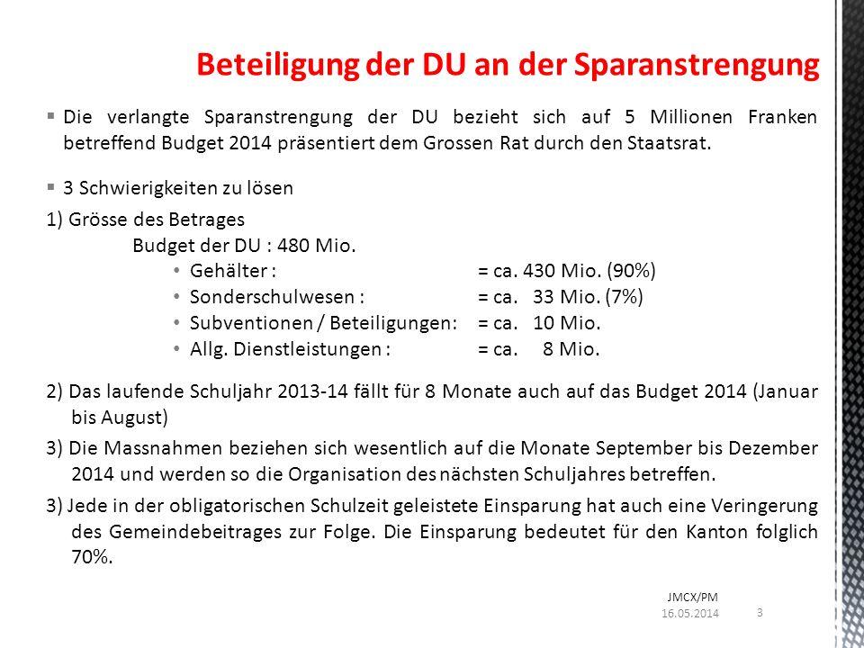 Die verlangte Sparanstrengung der DU bezieht sich auf 5 Millionen Franken betreffend Budget 2014 präsentiert dem Grossen Rat durch den Staatsrat.