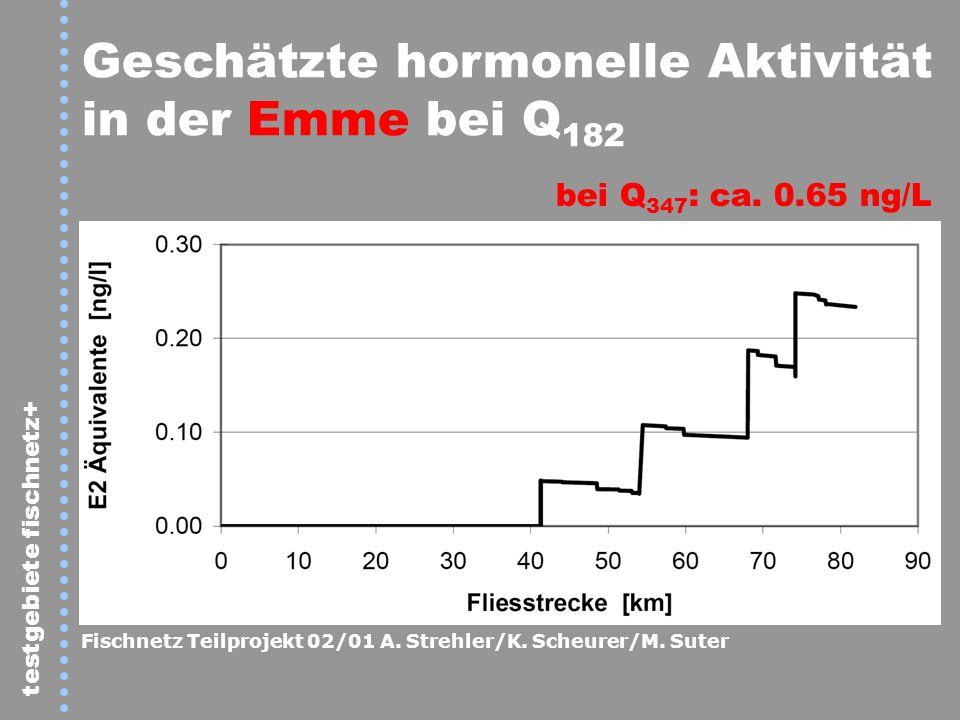 testgebiete fischnetz+ Geschätzte hormonelle Aktivität in der Emme bei Q 182 bei Q 347 : ca. 0.65 ng/L Fischnetz Teilprojekt 02/01 A. Strehler/K. Sche